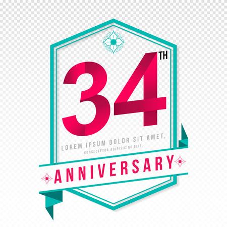 adorn: Anniversary emblems 34 anniversary template design Illustration