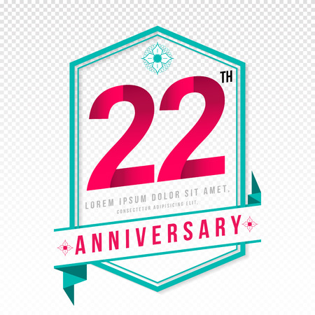 adorn: Anniversary emblems 22 anniversary template design Illustration