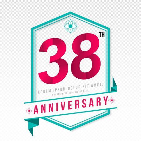 Anniversary emblems 38 anniversary template design