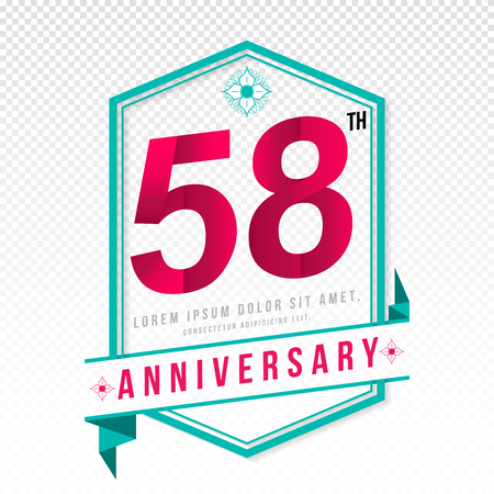 adorning: Anniversary emblems 58 anniversary template design Illustration