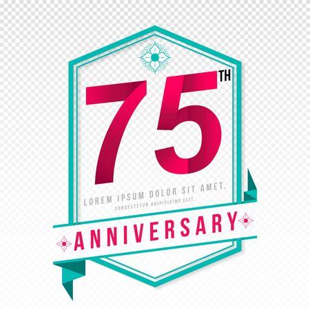 adorn: Anniversary emblems 75 anniversary template design Illustration