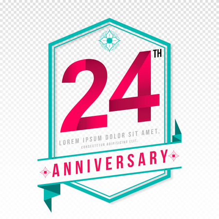 adorn: Anniversary emblems 24 anniversary template design Illustration