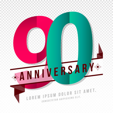 90th: Anniversary emblems 90 anniversary template design Illustration