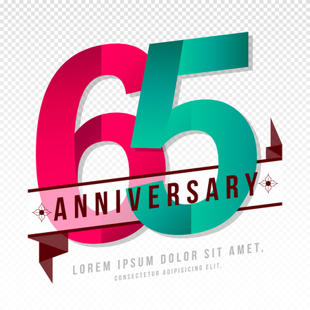 Anniversary emblems 65 anniversary template design