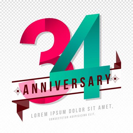 34: Anniversary emblems 34 anniversary template design Illustration
