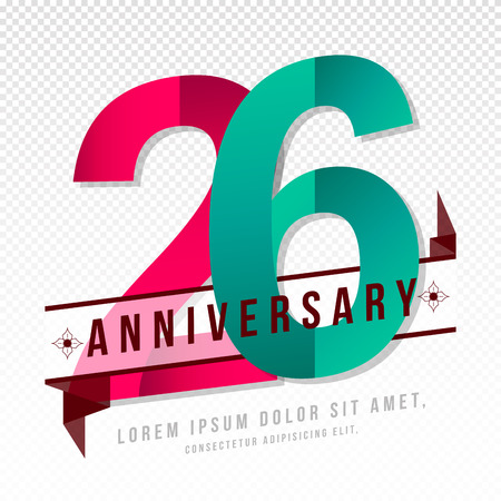 26: Anniversary emblems 26 anniversary template design