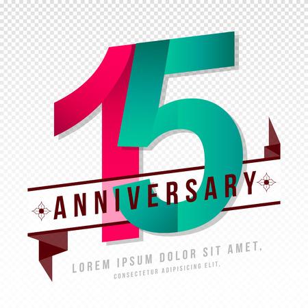 Anniversario emblemi 15 ° anniversario modello di progettazione Archivio Fotografico - 64926153