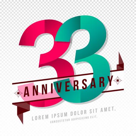Emblemi di anniversario 33 modello di progettazione di anniversario Archivio Fotografico - 64926157