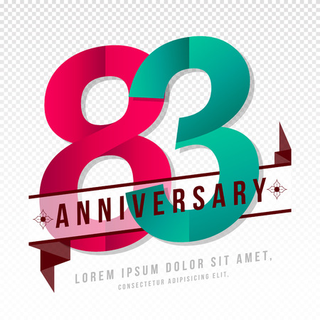 Anniversary emblems 83 anniversary template design Illustration