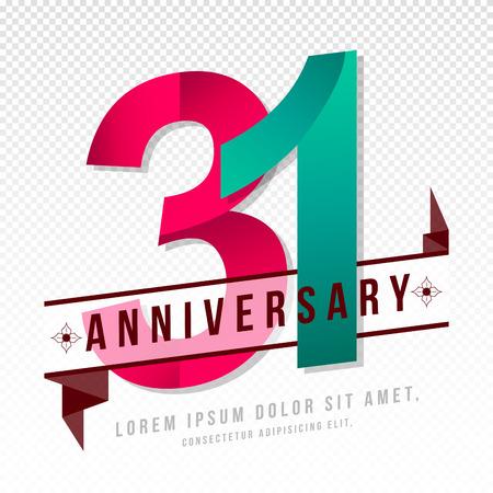 31: Anniversary emblems 31 anniversary template design