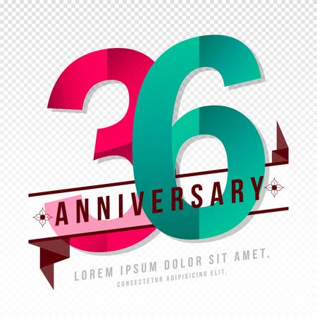 number 36: Anniversary emblems 36 anniversary template design