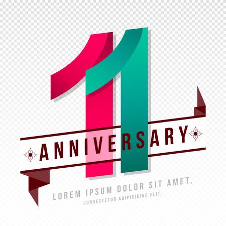 Anniversary emblemen 11-jarig bestaan malplaatjeontwerp