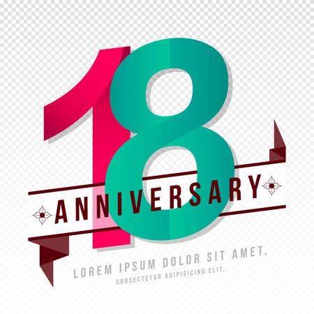 Anniversary emblems 18 anniversary template design