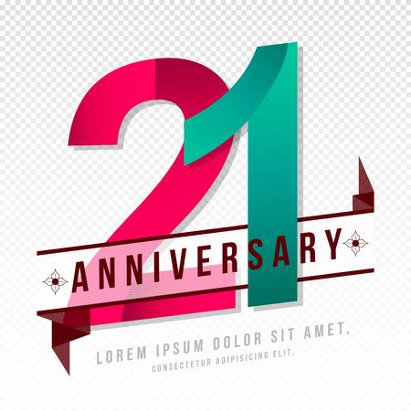 Anniversary emblems 21 anniversary template design