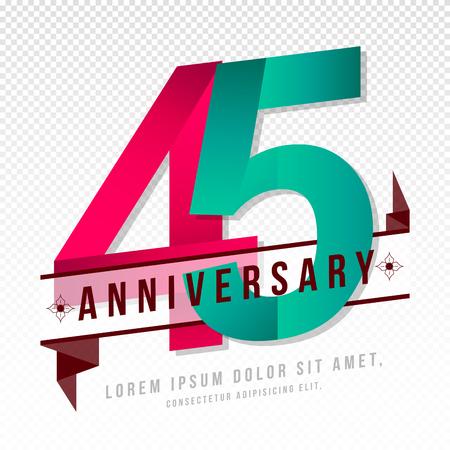 周年記念エンブレム 45 周年記念テンプレート デザイン