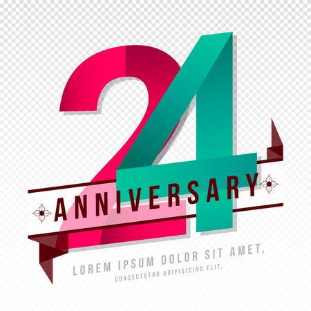 Anniversary emblems 24 anniversary template design Illustration