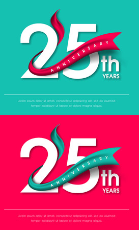 Anniversary emblems 25 anniversary template design