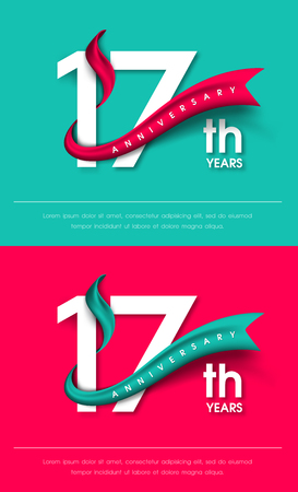17th: Anniversary emblems 17 anniversary template design