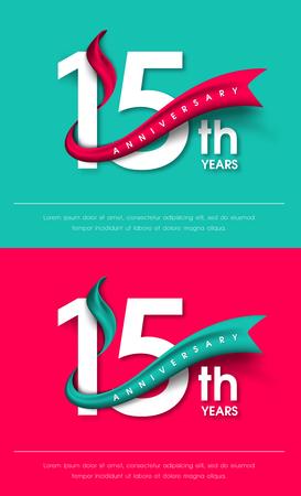 Anniversary emblemen 15-jarig bestaan malplaatjeontwerp Stock Illustratie