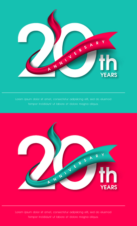 Anniversary emblems 20 anniversary template design