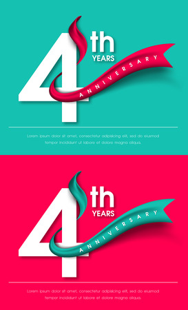color separation: Anniversary emblems 4 anniversary template design