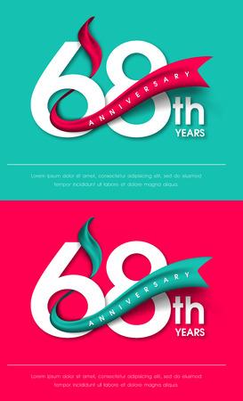 Anniversary emblems 68 anniversary template design Illustration