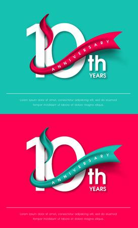 Anniversario emblemi 10 ° anniversario modello di progettazione Archivio Fotografico - 64927278