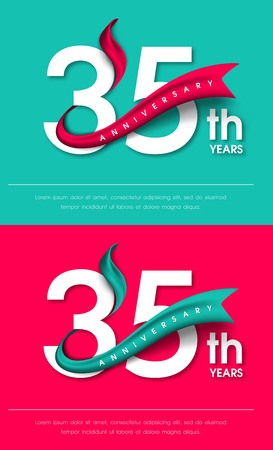 Anniversary emblems 35 anniversary template design