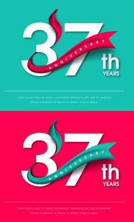 Anniversary emblemen 37-jarig bestaan malplaatjeontwerp