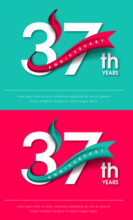 Anniversary emblems 37 anniversary template design Illustration