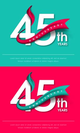 45th: Anniversary emblems 45 anniversary template design