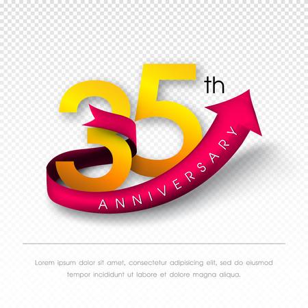 35th: Anniversary emblems 35 anniversary template design