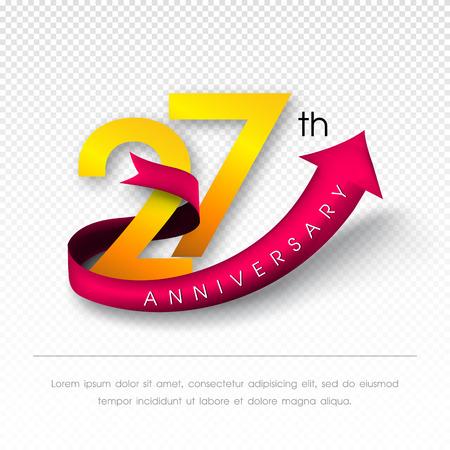 27: Anniversary emblems 27 anniversary template design