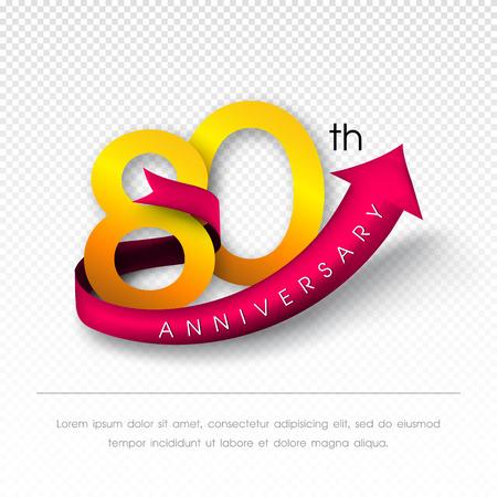 80th: Anniversary emblems 80 anniversary template design Illustration