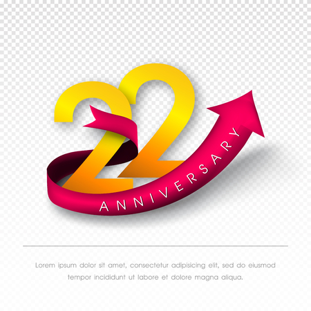 color separation: Anniversary emblems 22 anniversary template design Illustration