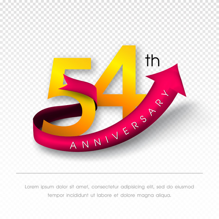 54: Anniversary emblems 54 anniversary template design Illustration