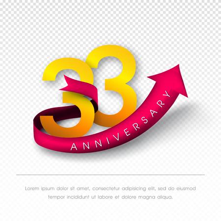 Anniversary emblems 33 anniversary template design Illustration