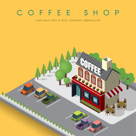 Coffee Shop Cafe in isometric view Illustration