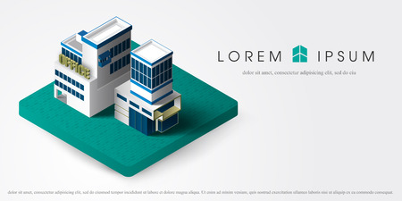 stage door: Office center building facade with shadows on white background vector illustration. isometric office building. 3d isometric building vector illustration element for city.
