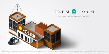 precinct station: 3d City police station department isometric  building with police car in flat style isolated on white background vector illustration