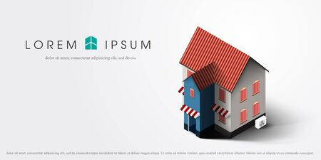 housing project: Vector illustration of modern 3d house icon isolated on white background. 3d house icon vector illustration. Illustration