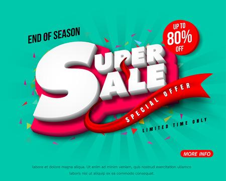 Sale banner template design, Big sale special up to 80% off. Super Sale, end of season special offer banner. vector illustration.