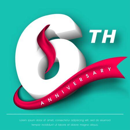 Anniversary emblems 6 anniversary template design