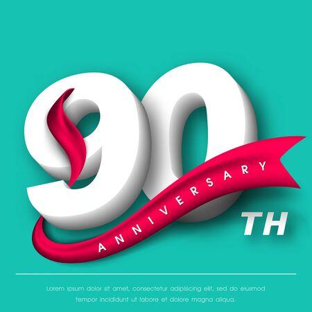 Anniversary emblems 90 anniversary template design Illustration