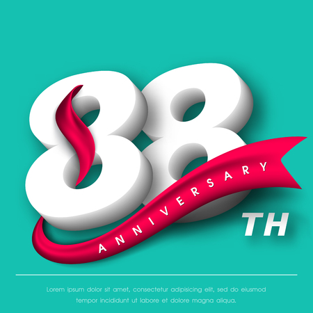 Anniversary emblems 88 anniversary template design