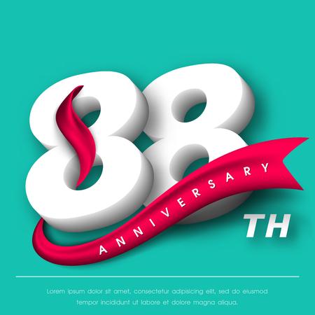 Anniversary emblems 88 anniversary template design