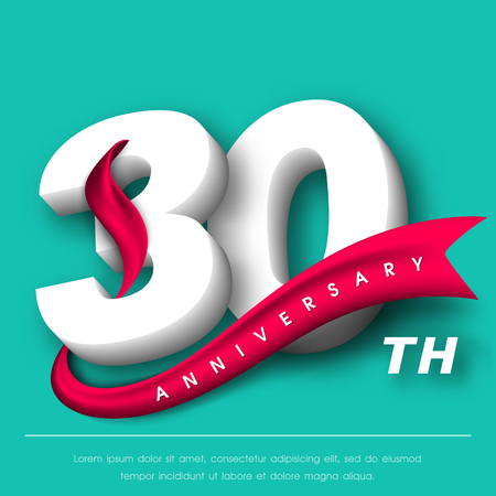 Anniversary emblems 30 anniversary template design Vectores