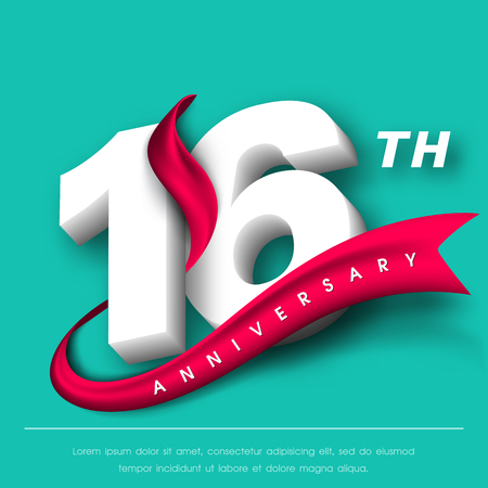 16: Anniversary emblems 16 anniversary template design