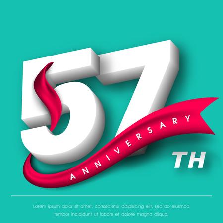 Anniversary emblems 57 anniversary template design Illustration