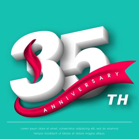 Anniversary Emblems 35 Anniversary Template Design Royalty Free